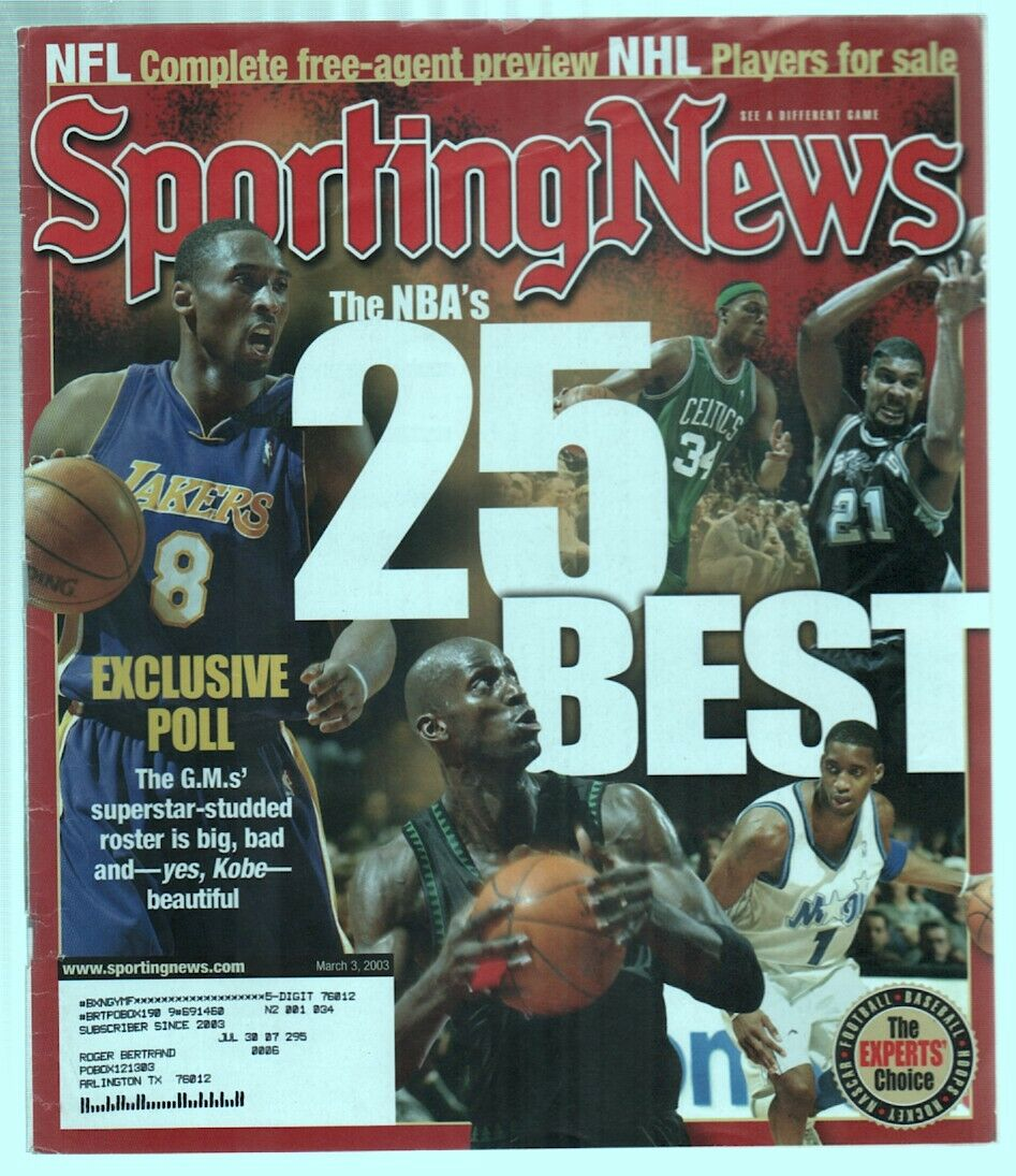 The Sporting News Magazine March 3, 2003 NBA's 25 Best Players Cover G