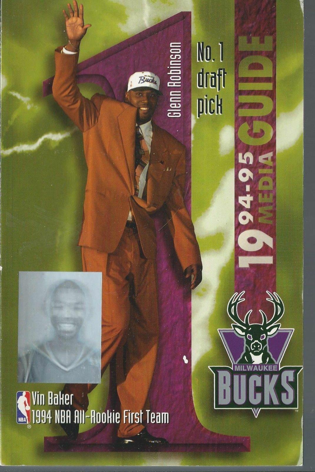 1994/1995 Milwaukee Bucks Official NBA Basketball Media Guide - Vin Baker Holo
