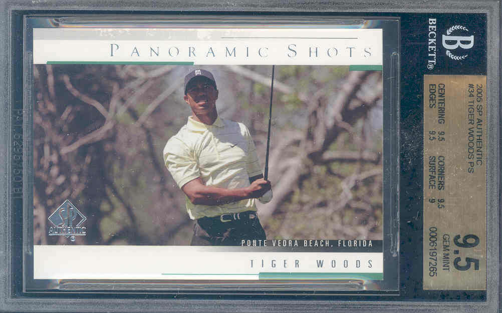 2005 sp authentic #34 TIGER WOODS PS golf BGS 9.5