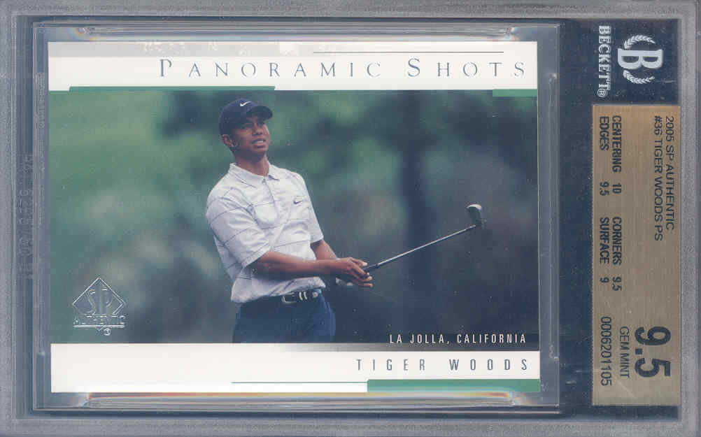 2005 sp authentic #36 TIGER WOODS PS golf BGS 10 9.5