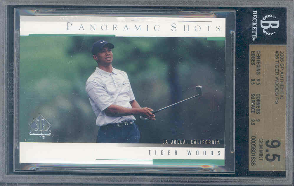 2005 sp authentic #36 TIGER WOODS PS golf BGS 9.5