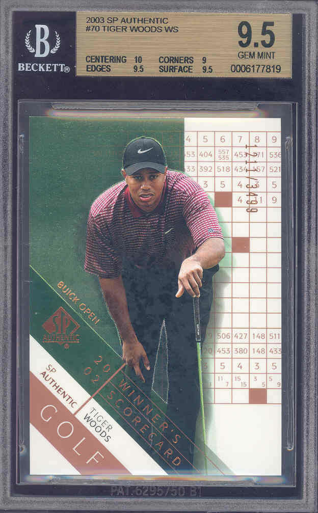 2003 sp authentic #70 TIGER WOODS golf BGS 10 9.5