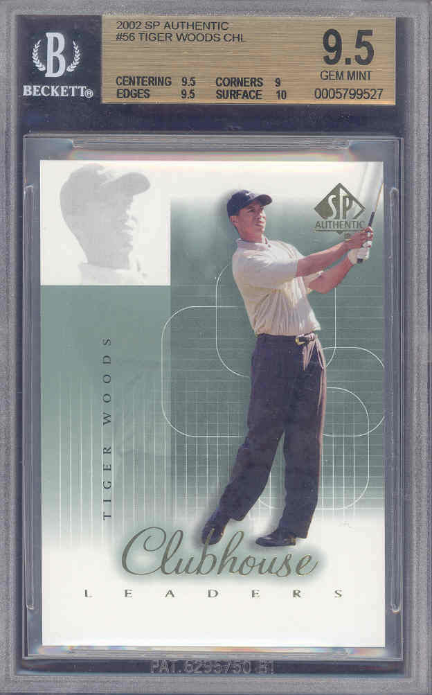 2002 sp authentic #46 TIGER WOODS CHL golf BGS 9.5 10