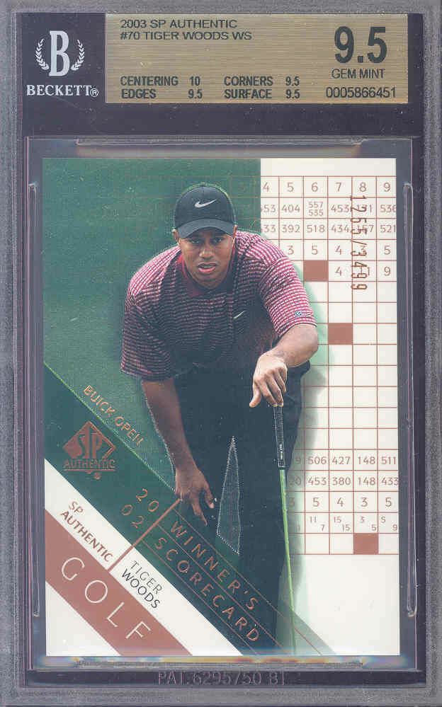 2003 sp authentic #70 TIGER WOODS golf BGS 10 9.5 9.5 9.5