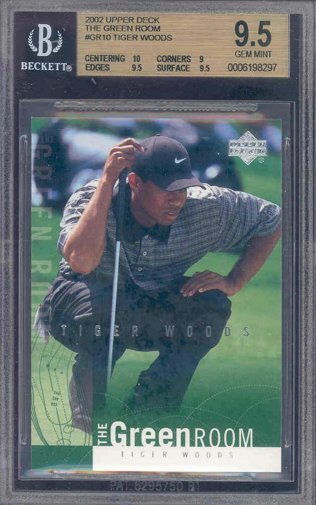 2002 upper deck the green room #gr10 TIGER WOODS golf BGS 10 9.5