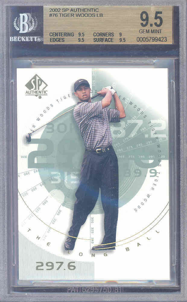 2002 sp authentic #76 TIGER WOODS CHL golf BGS 9.5