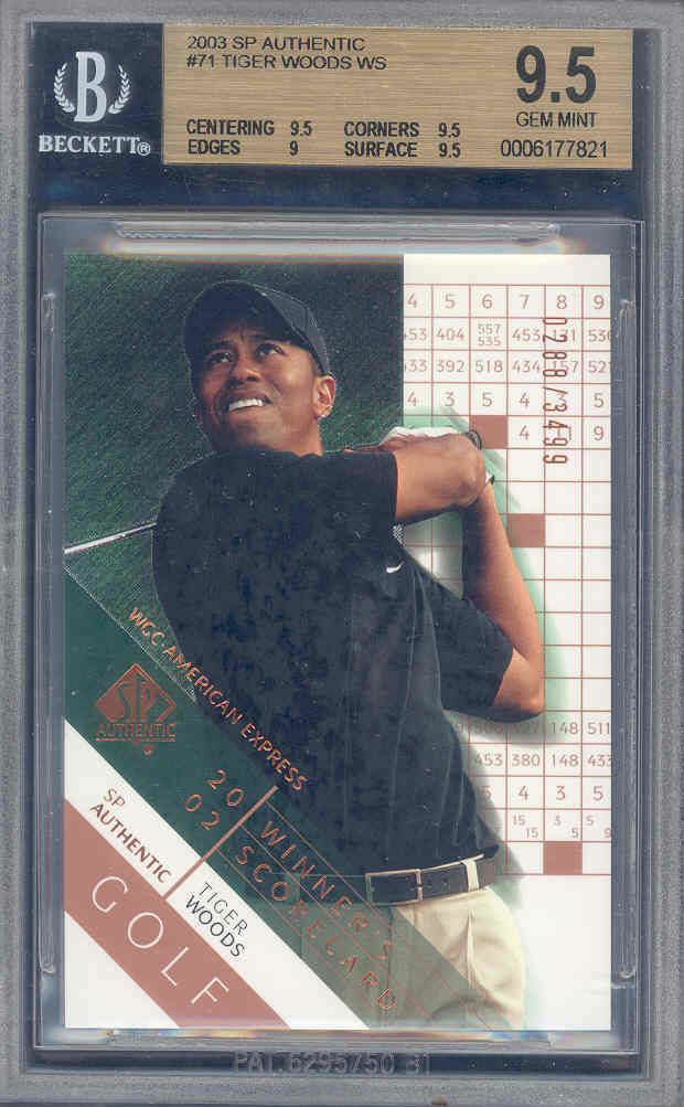 2003 sp authentic #71 TIGER WOODS golf BGS 9.5