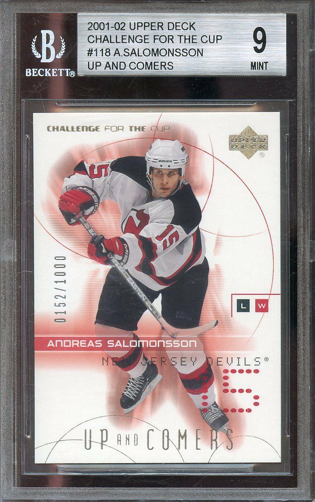 2001-02 upper deck challenge for the cup #118 ANDREAS SALOMONSSON rookie BGS 9