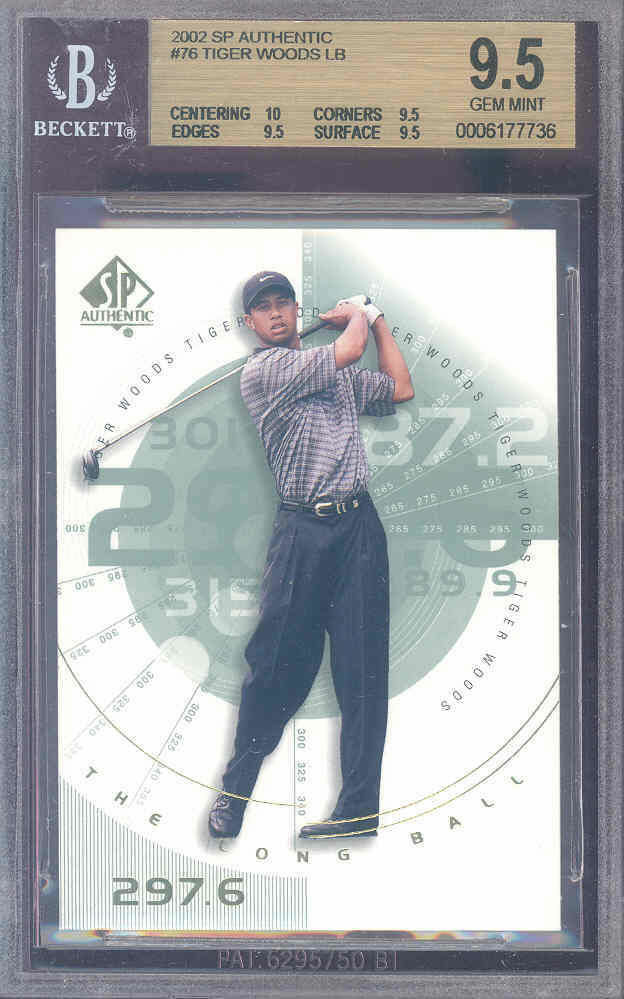 2002 sp authentic #76 TIGER WOODS CHL golf BGS 10 9.5 9.5 9.5
