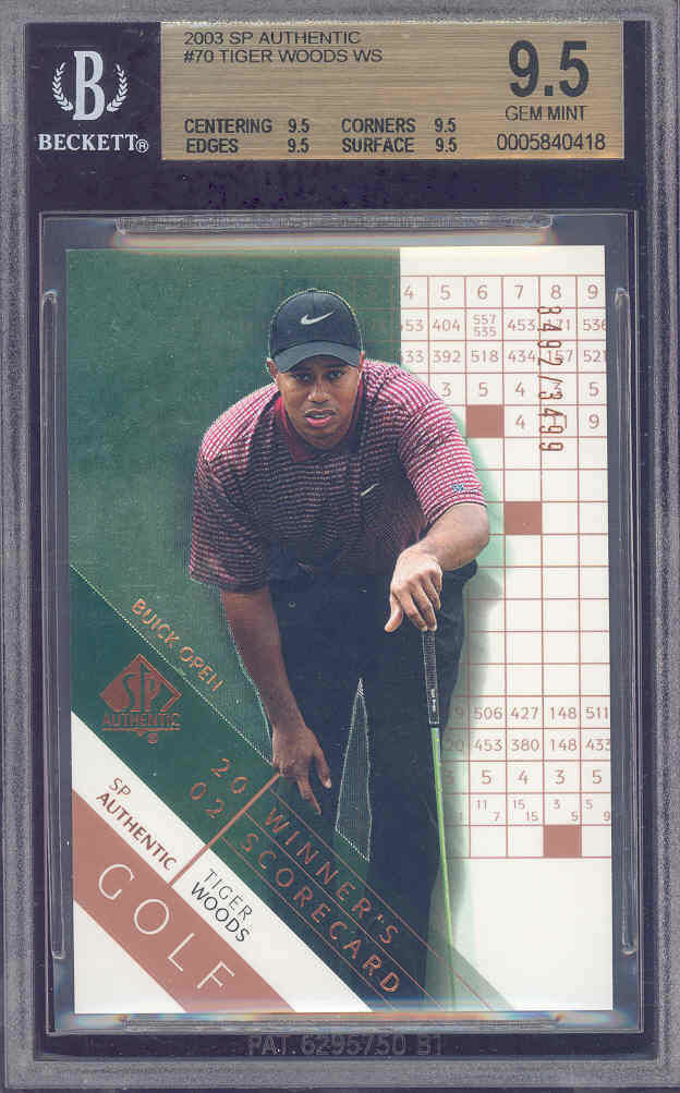 2003 sp authentic #70 TIGER WOODS golf BGS 9.5 9.5 9.5 9.5