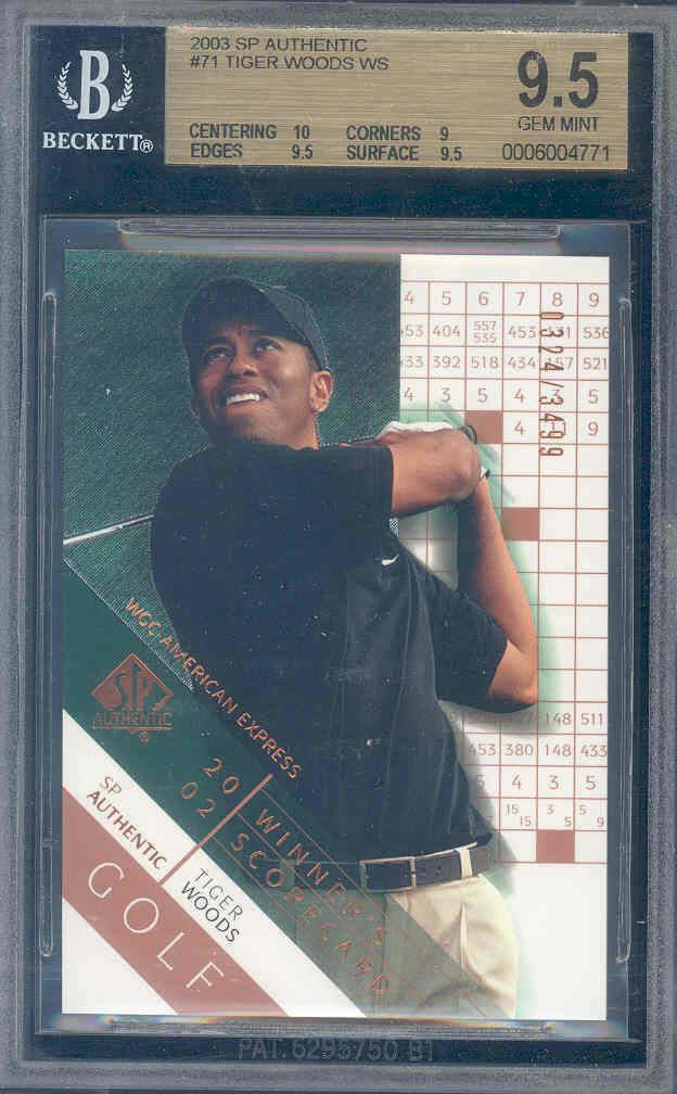2003 sp authentic #71 TIGER WOODS golf BGS 10 9.5