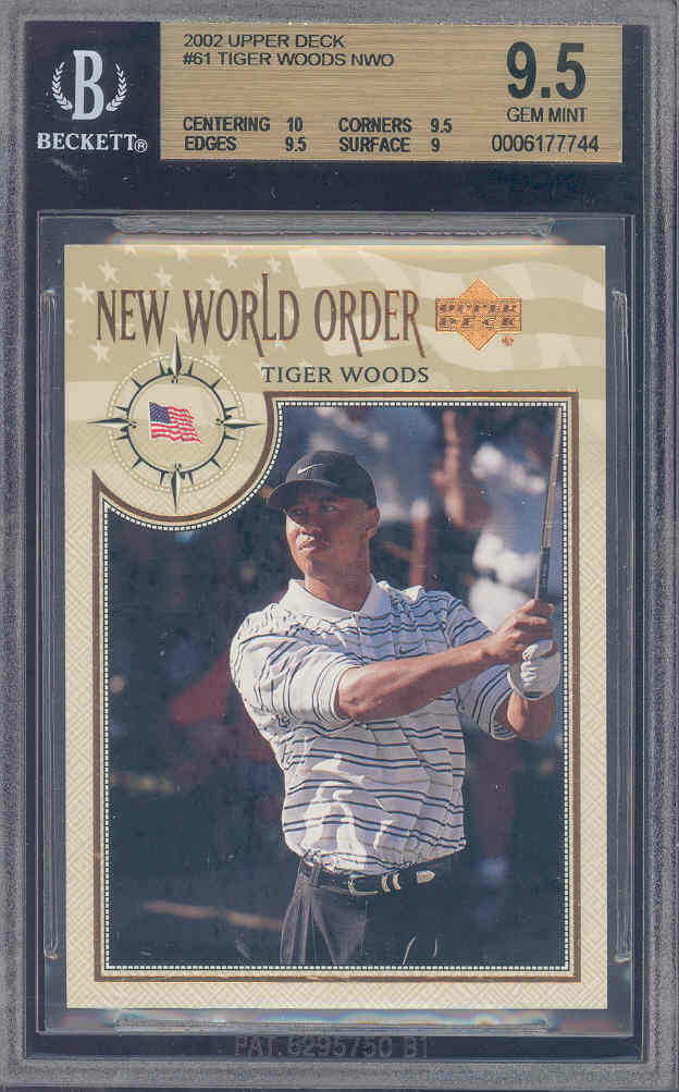 2002 upper deck #61 TIGER WOODS NWO golf BGS 10 9.5