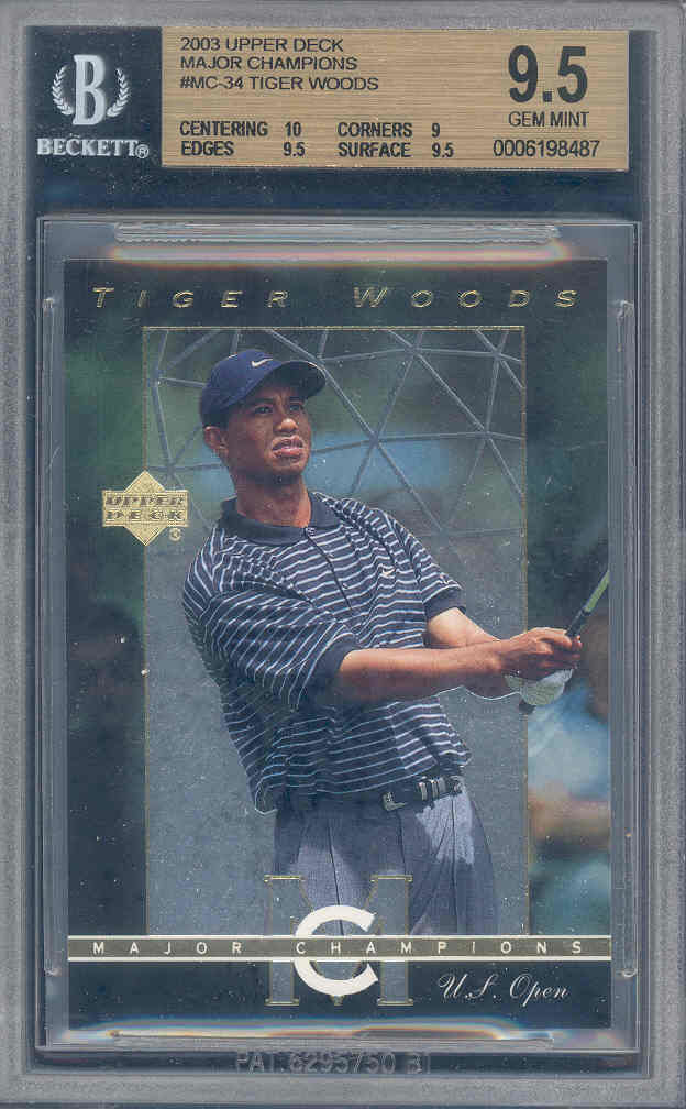 2003 upper deck major champions #mc-34 TIGER WOODS BGS 10 9.5