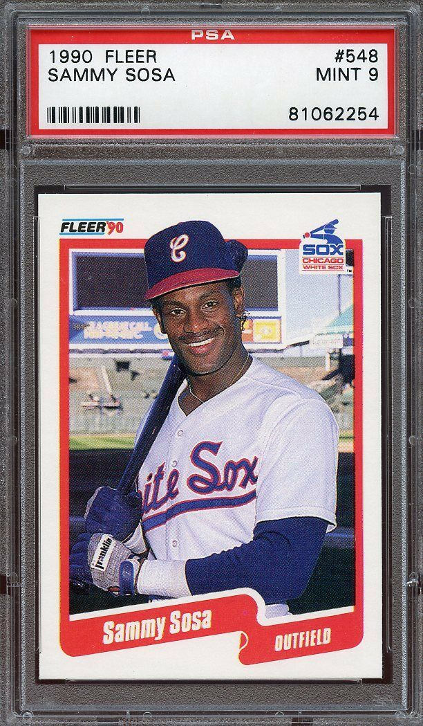 1990 fleer #548 SAMMY SOSA chicago cubs rookie card PSA 9