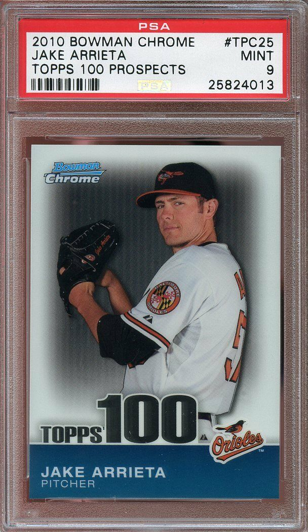 2010 bowman chrome topps 100 prospects #tpc25 JAKE ARRIETA cubs rookie PSA 9