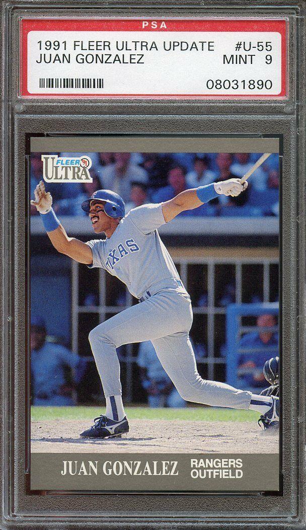 1991 ultra update #u55 JUAN GONZALEZ texas rangers rookie card PSA 9