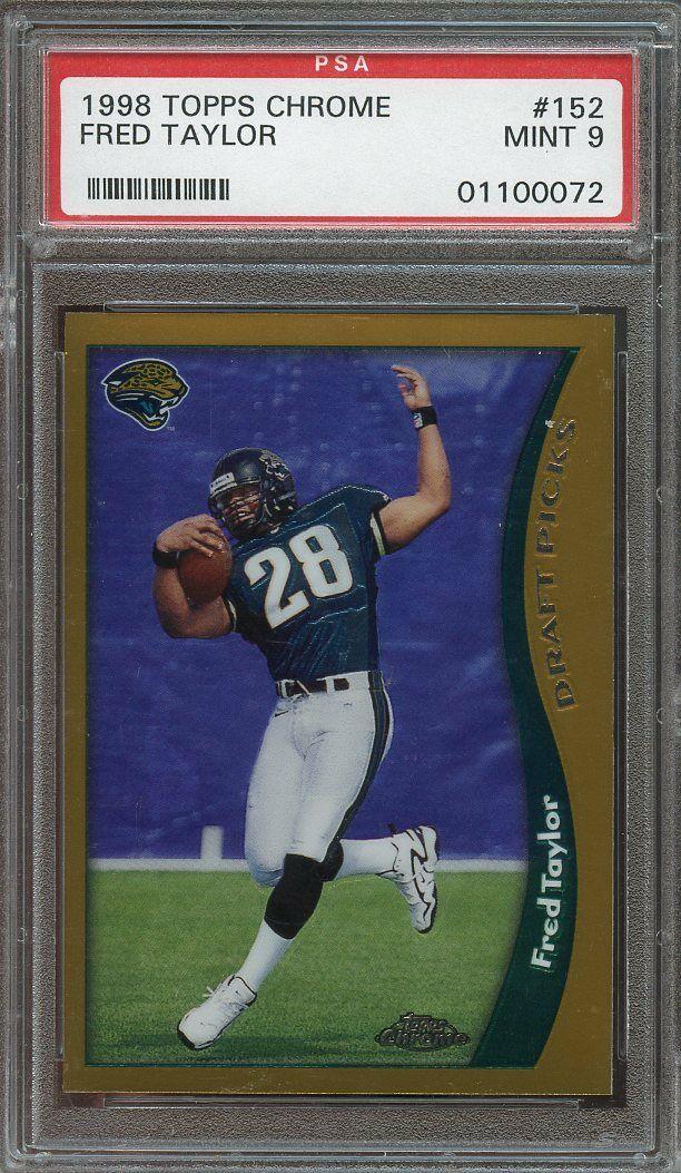 1998 topps chrome #152 FRED TAYLOR jacksonville jaguars rookie card PSA 9