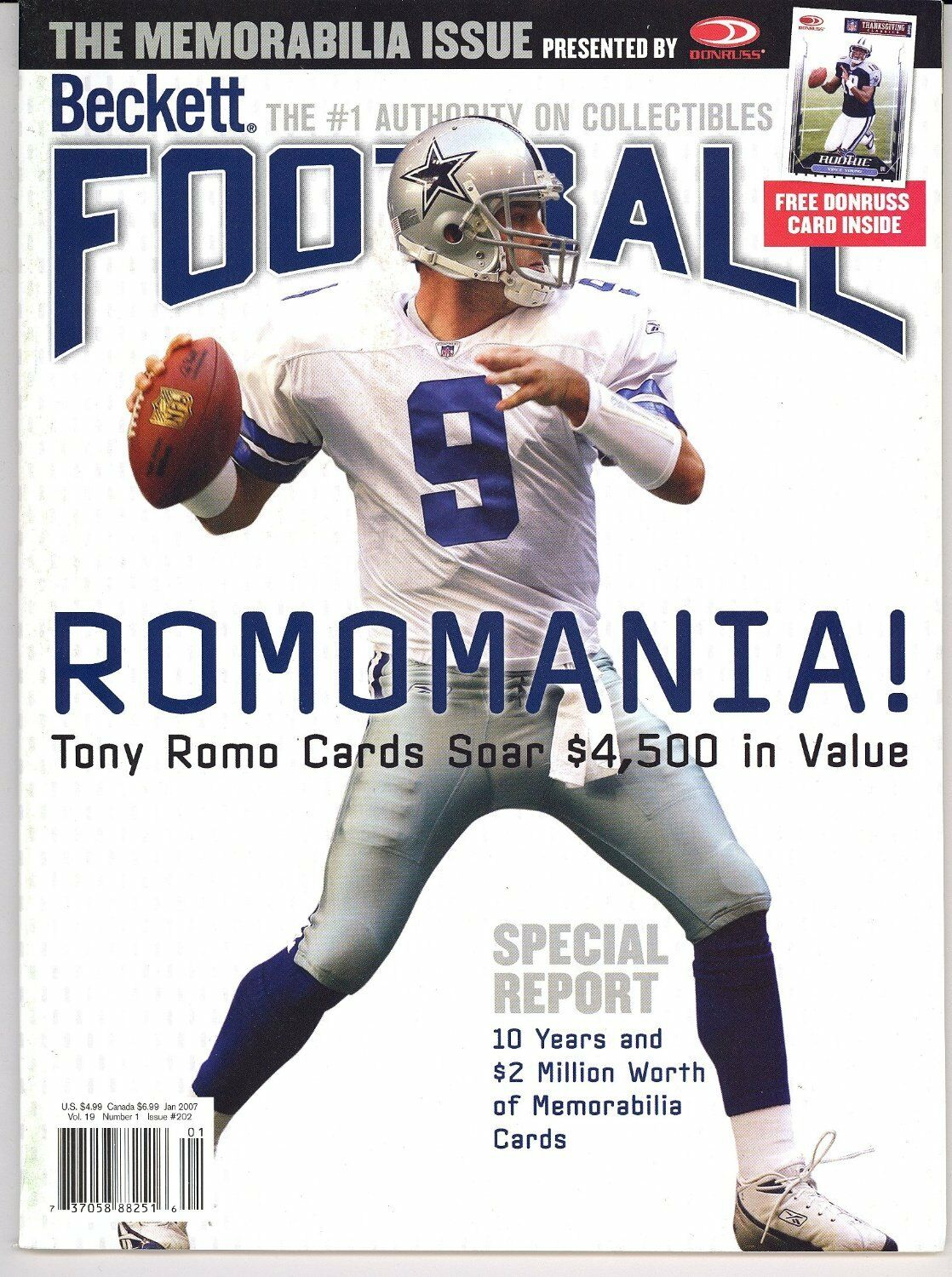 Back Issue Beckett Football Monthly Price Guide January 2007 #202 Tony Romo