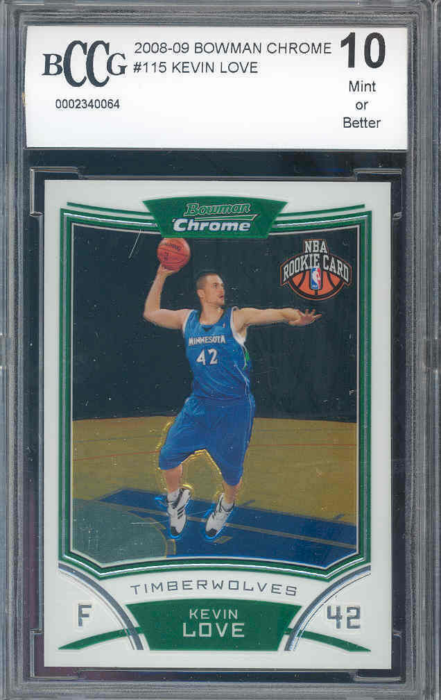 2008-09 bowman chrome #115 KEVIN LOVE cleveland cavaliers rookie BGS BCCG 10