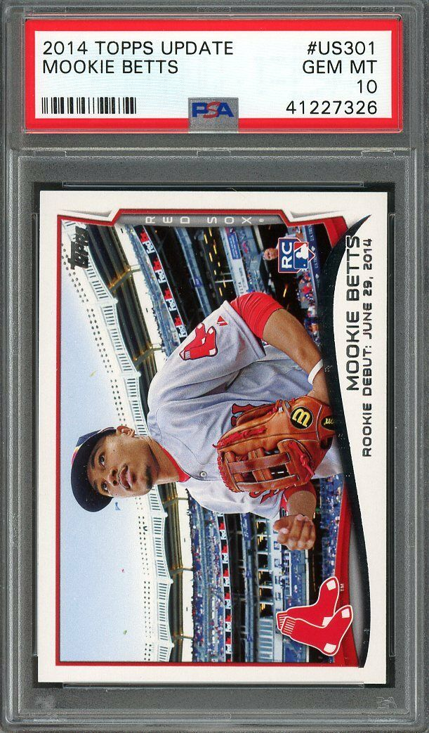 2014 topps update #us301 MOOKIE BETTS boston red sox rookie card PSA 10
