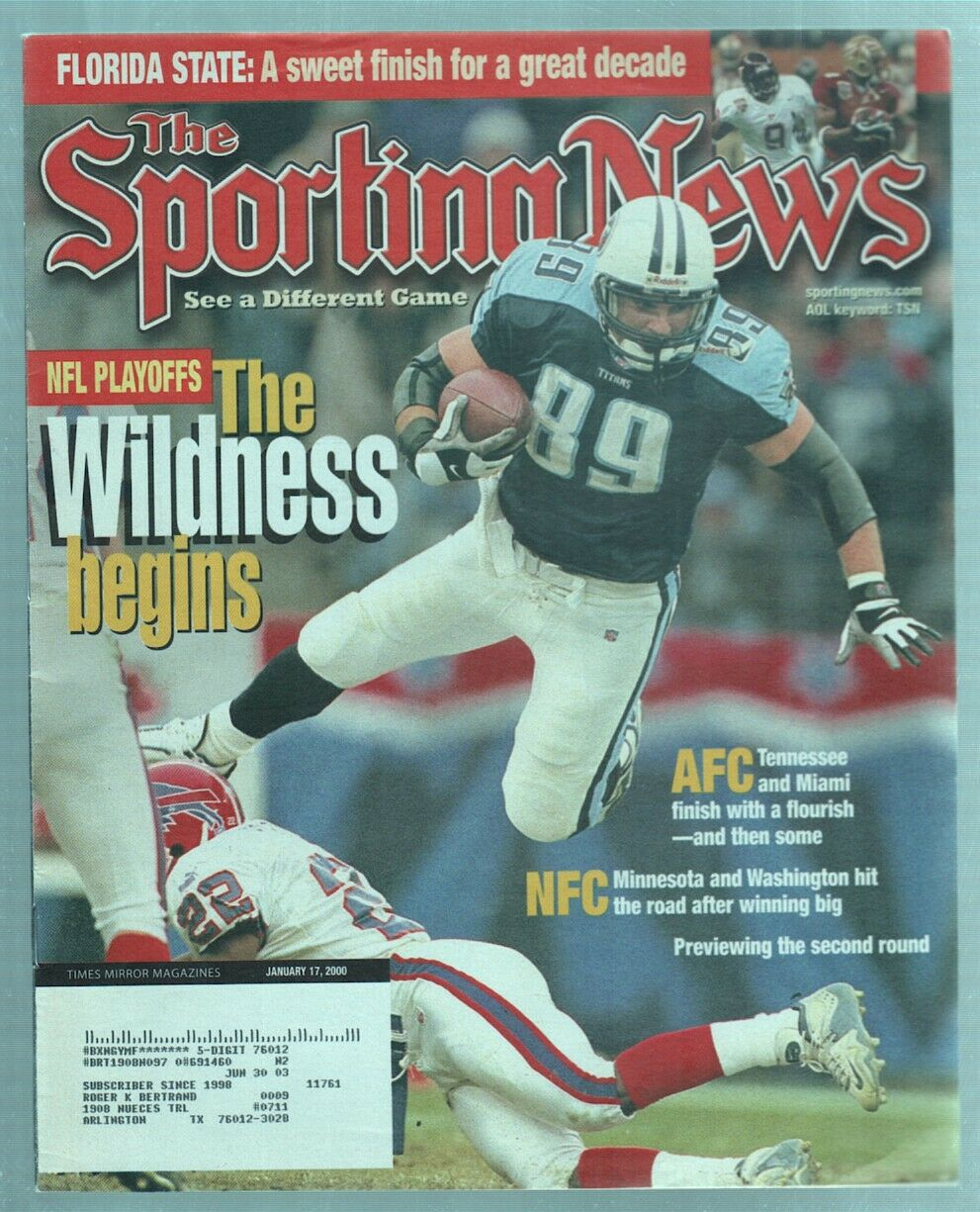 The Sporting News Magazine Jan 17, 2000 The Wildness Begins Frank Wycheck G
