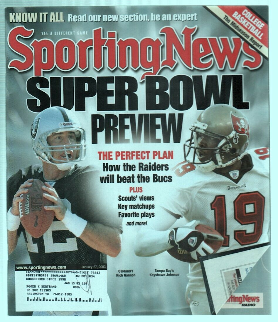 The Sporting News Magazine Jan 27, 2003 Super Bowl Preview Rich Gannon Cover G