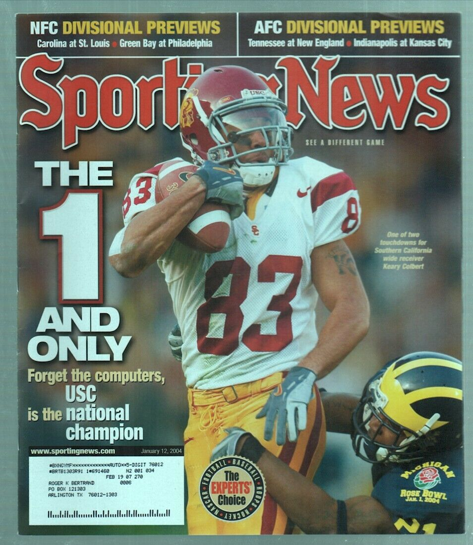 The Sporting News Magazine Jan 12, 2004 The 1 and Only Keary Colbert Cover G