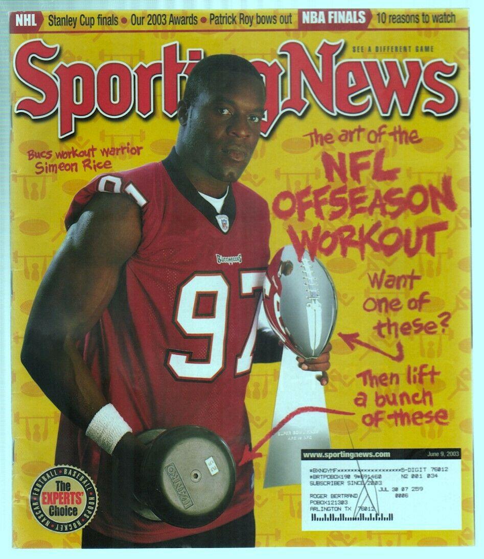 The Sporting News Magazine June 9, 2003 NFL Offseason Workout Simeon Rice G