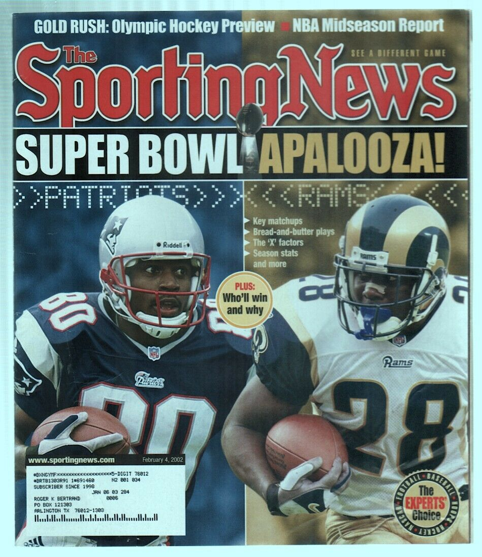 The Sporting News Magazine Feb 4 2002 Super Bowl Troy Brown Mark Bolton G