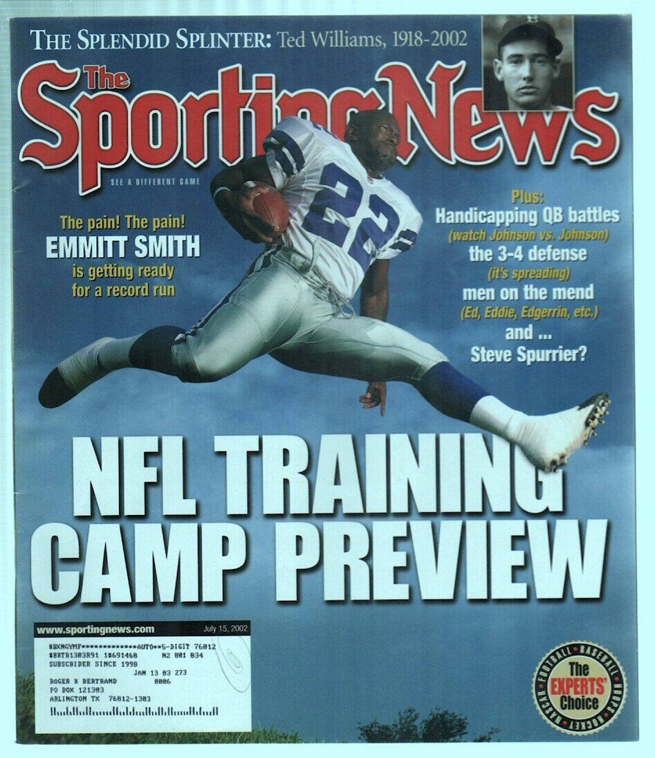 The Sporting News Magazine July 15, 2002 NFL Training Camp Emmitt Smith Cover G