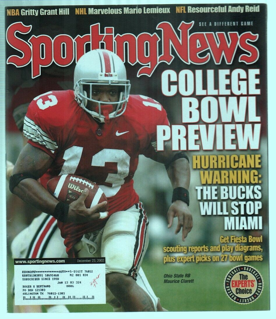 The Sporting News Magazine Dec 23, 2002 College Bowl Preview Maurice Clarett G