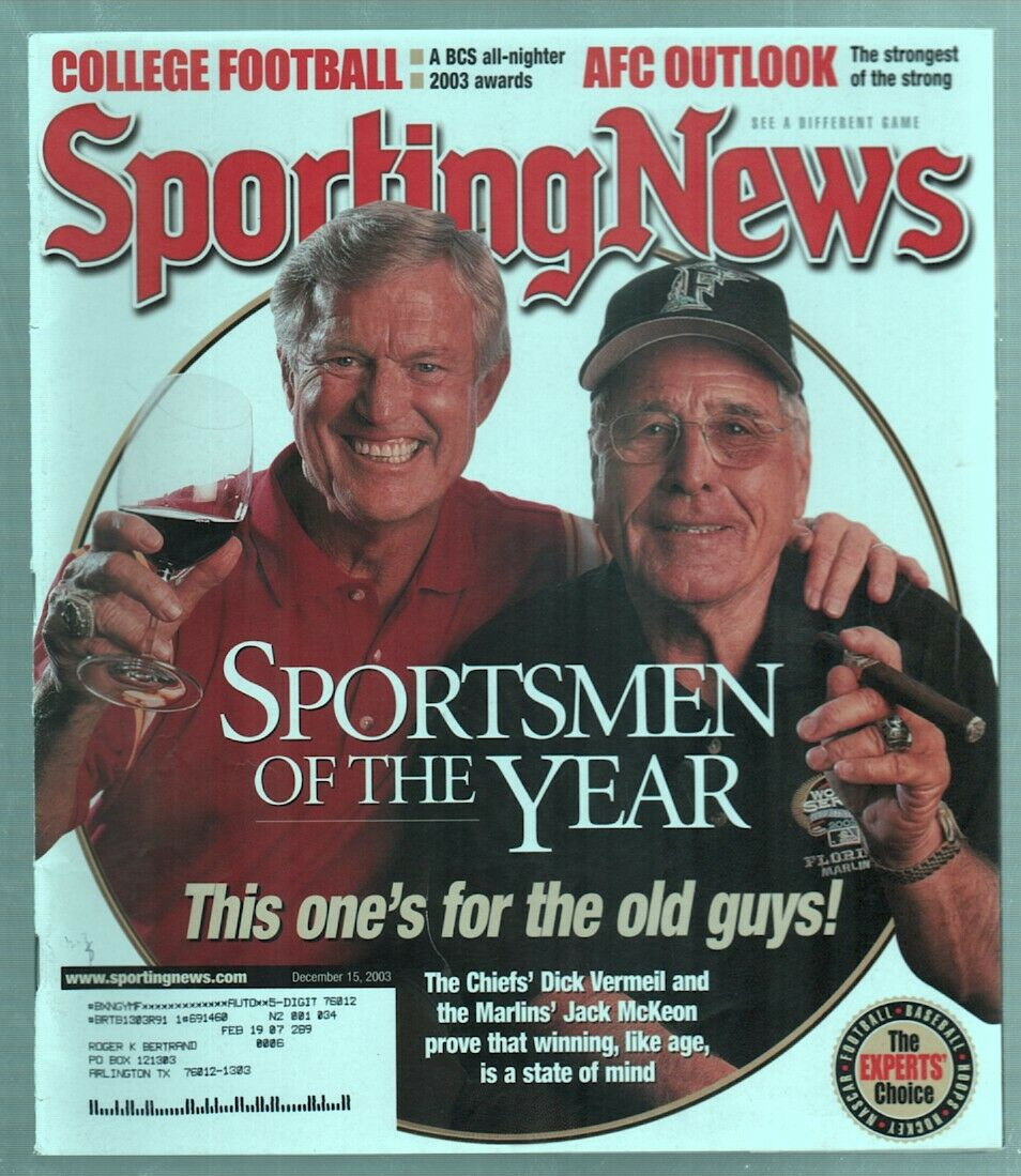 The Sporting News Magazine Dec 15, 2003 Sportsmen of the Year Dick Vermeil G