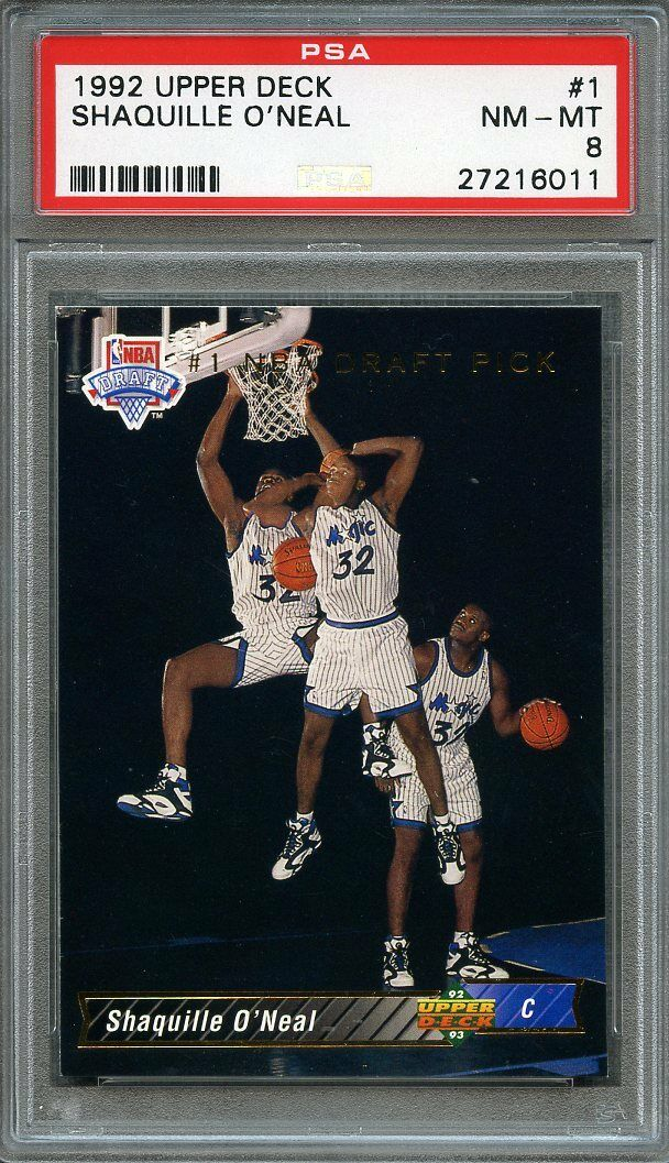 1992-93 upper deck #1 SHAQUILLE O'NEAL orlando magic rookie card PSA 8
