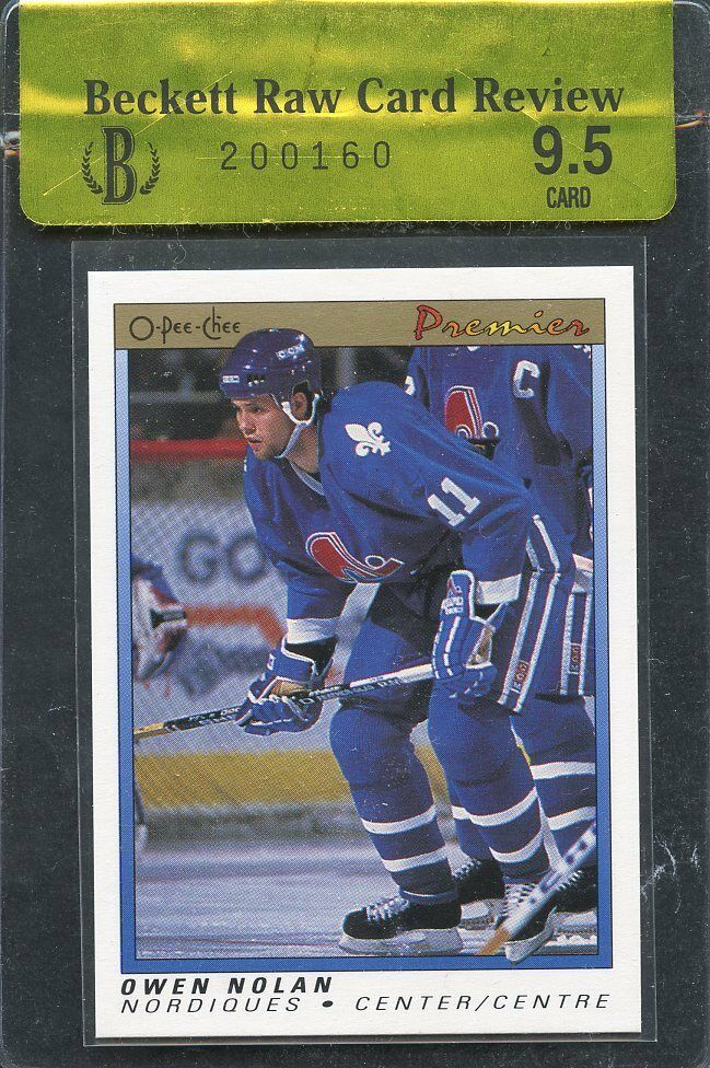 1990-91 opc premier #86 OWEN NOLAN quebec nordiques rookie card BGS 9.5 RCR
