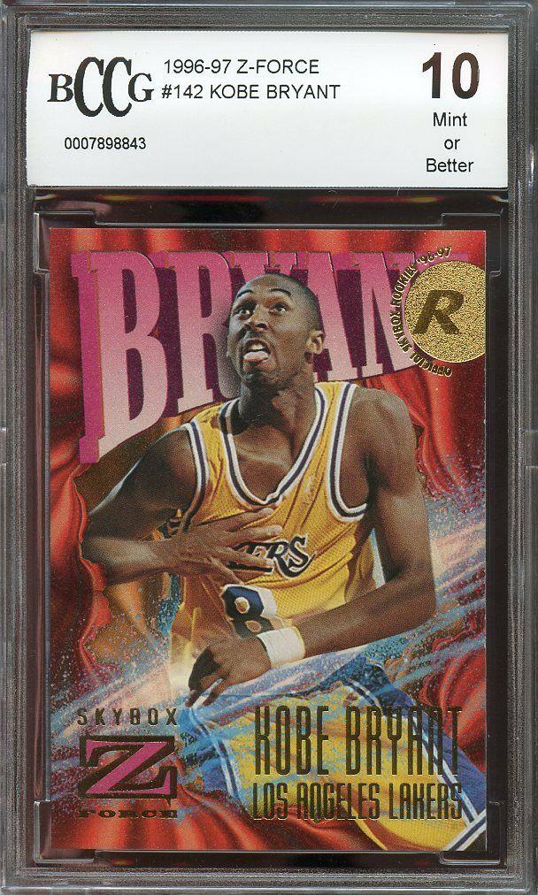 1996-97 z-force #142 KOBE BRYANT los angeles lakers rookie card BGS BCCG 10