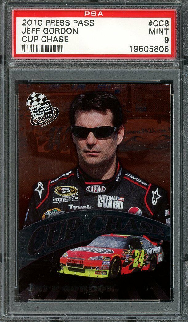 2010 press pass cup chase #cc8 JEFF GORDON nascar PSA 9