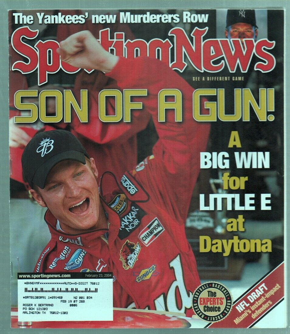 The Sporting News Magazine Feb 23, 2004 Son of a Gun Dale Earnhardt Jr Cover G