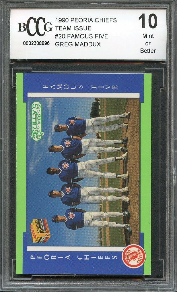 1990 peoria chiefs team issue #20 FAMOUS FIVE GREG MADDUX braves BGS BCCG 10