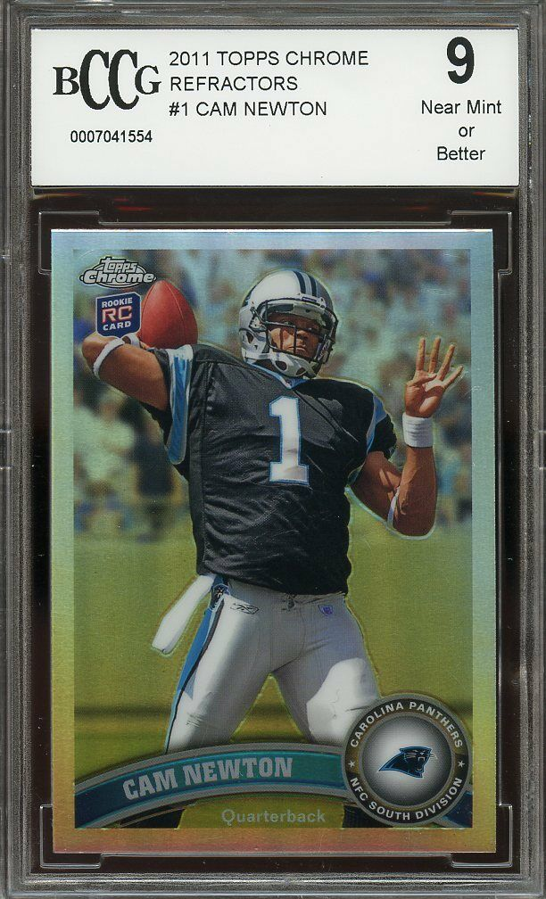 2011 topps chrome refractors #1 CAM NEWTON carolina panthers rookie BGS BCCG 9