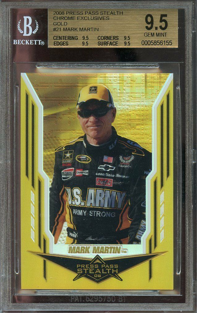 2008 press pass stealth chrome exclusives gold #21 MARK MARTIN BGS 9.5