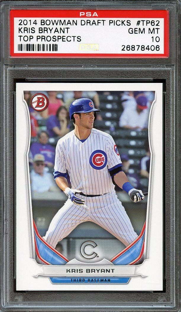 2014 bowman draft picks top prospects #tp62 KRIS BRYANT cubs rookie card PSA 10