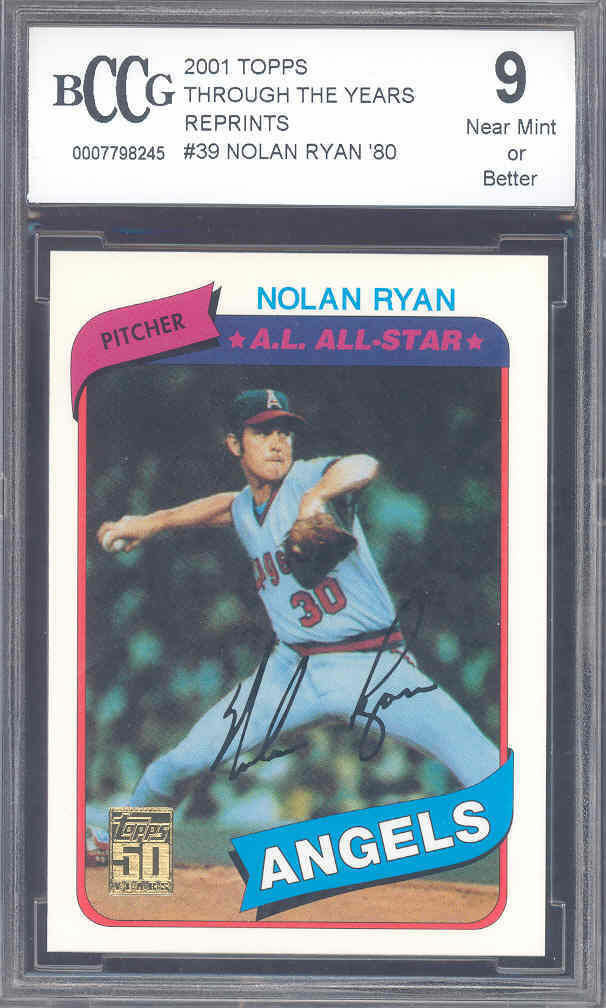 2001 topps through the years reprints #39 NOLAN RYAN '80 astros BGS BCCG 9