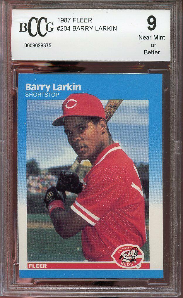 1987 fleer #204 BARRY LARKIN cincinnati reds rookie card BGS BCCG 9