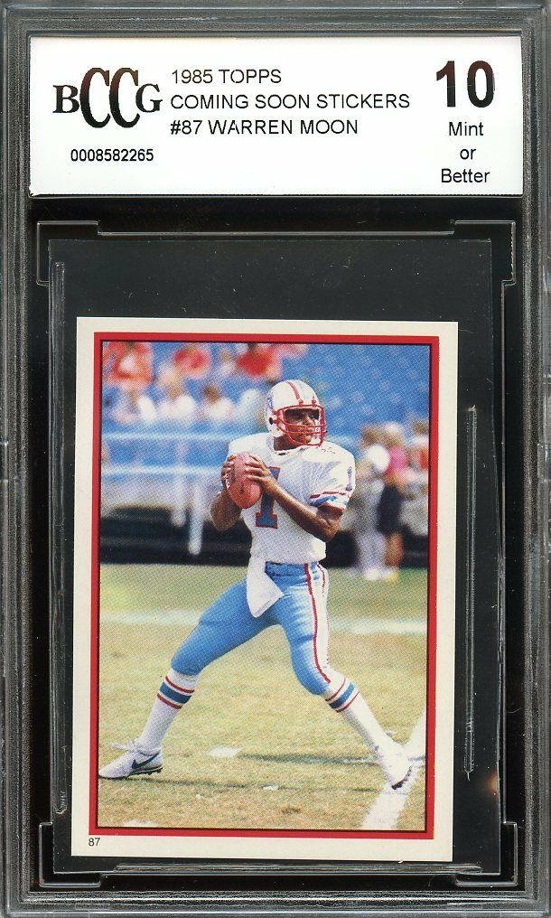 1985 topps coming soon stickers #87 WARREN MOON oilers rookie card BGS BCCG 10