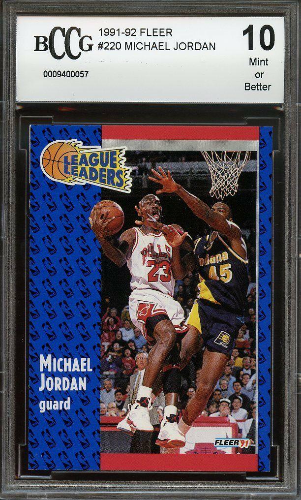 1991-92 fleer #220 MICHAEL JORDAN chicago bulls BGS BCCG 10