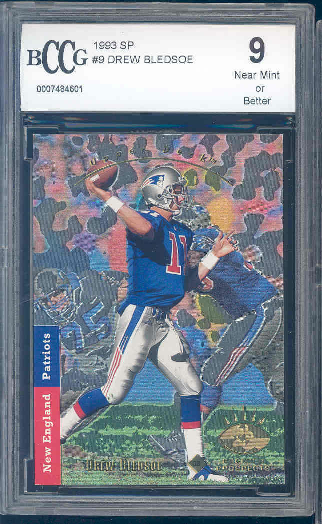 1993 sp #9 DREW BLEDSOE new england patriots rookie card BGS BCCG 9