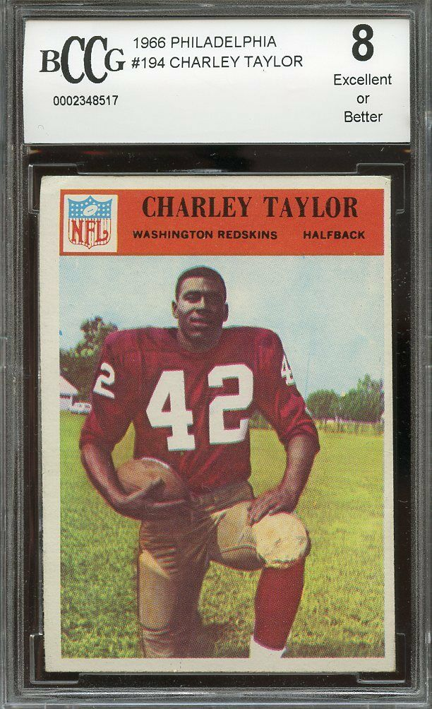 1966 philadelphia #194 CHARLEY TAYLOR washington redskins BGS BCCG 8