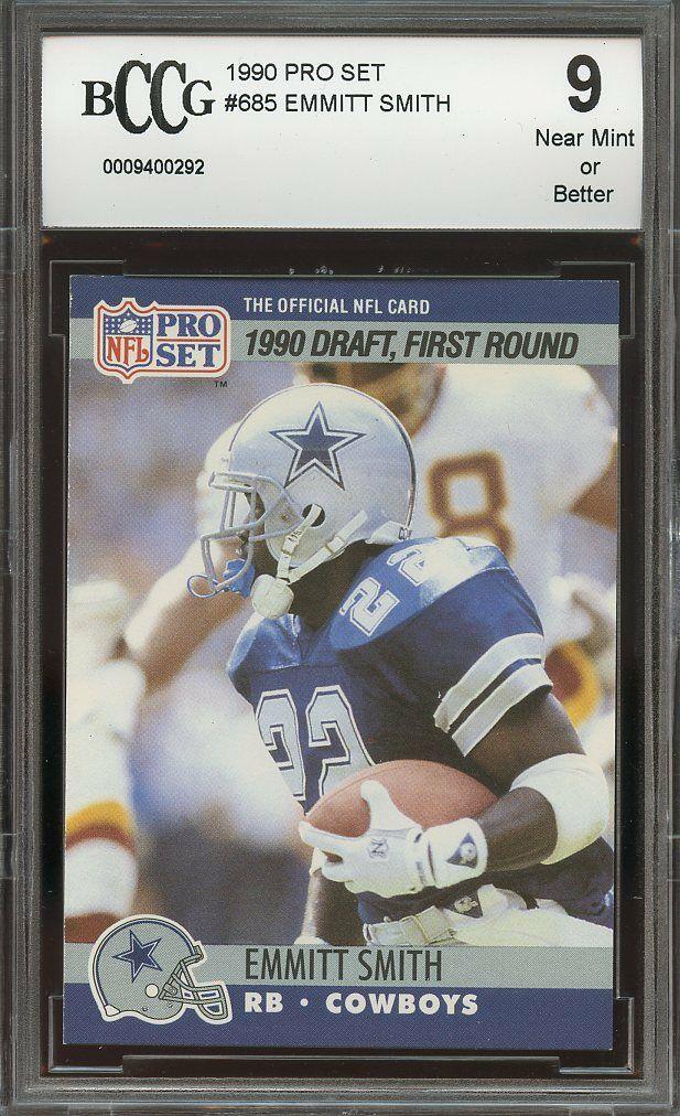 1990 pro set #685 EMMITT SMITH dallas cowboys rookie card BGS BCCG 9