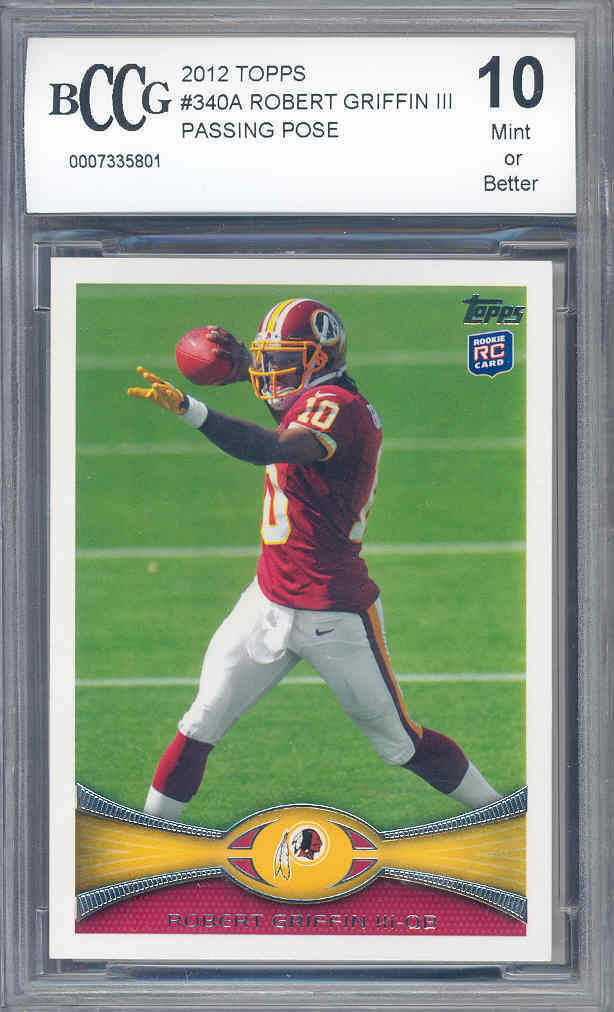 2012 topps #340a ROBERT GRIFFIN rc rookie BGS BCCG 10