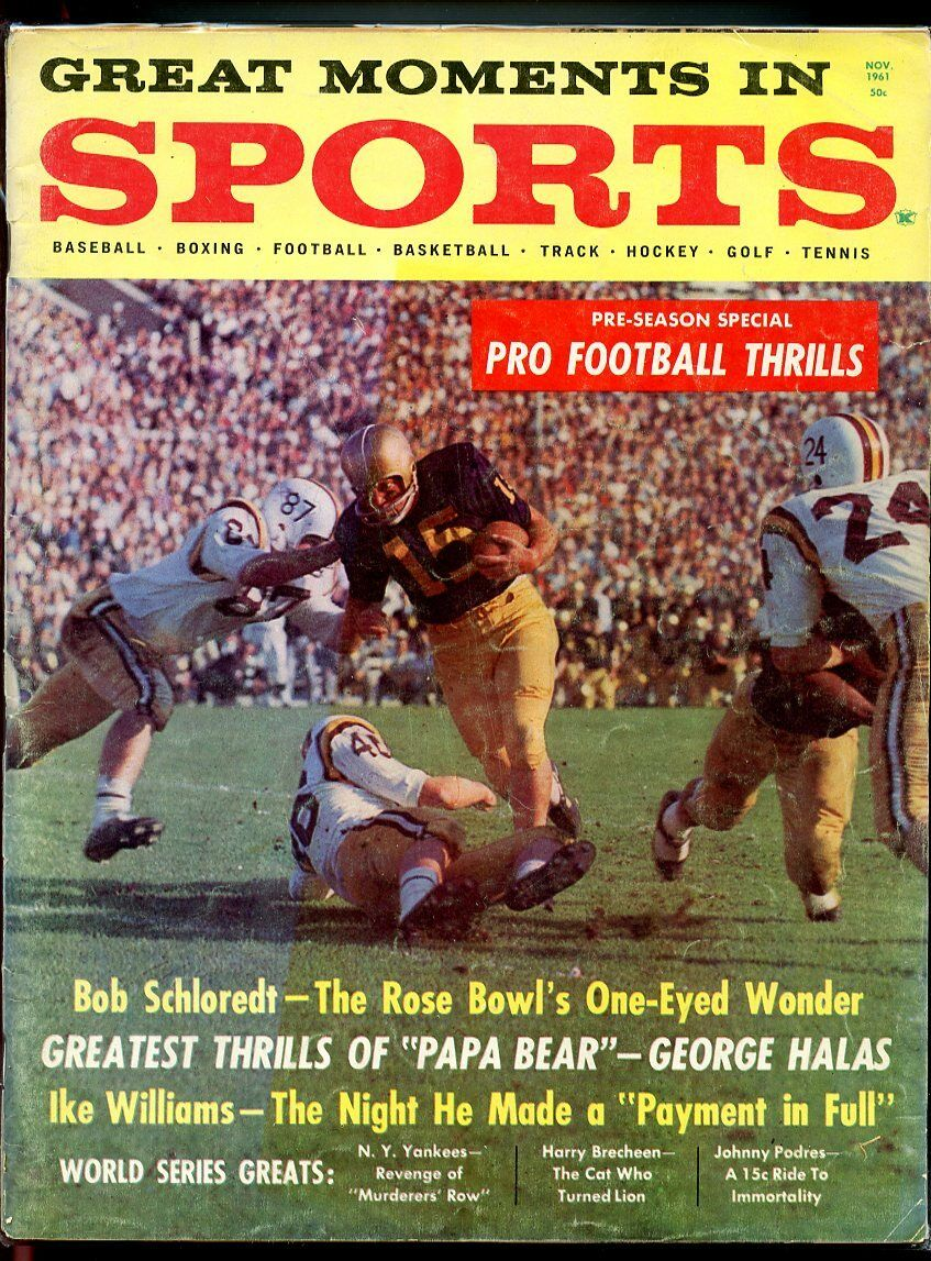 Great Moments in Sports Magazine Nov 1961 Bob Schloredt Washington Huskies G